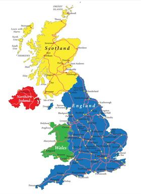 Landkarte United Kingdom